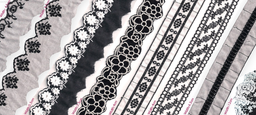 Delicate Parisian Chic for Tailoring; Pure Cottom embroidery edgings and trimmings.&#13Noir et blanc is always safe, good sellers and in demand.&#13These delicate trimming , are available fast for production for Spring and summer collections… in any quantity.&#13Great prices as usual and as usual innovative designs from neotrims accessories designers.